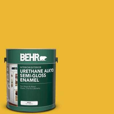 1 gal. #OSHA-6 OSHA SAFETY YELLOW Urethane Alkyd Semi-Gloss Enamel Interior/Exterior Paint