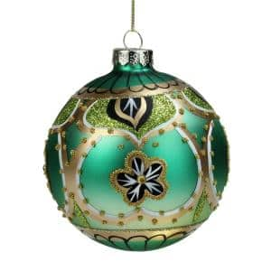 4 in. Green Gold and Black Floral Bead and Jewel Glass Ball Christmas Ornament