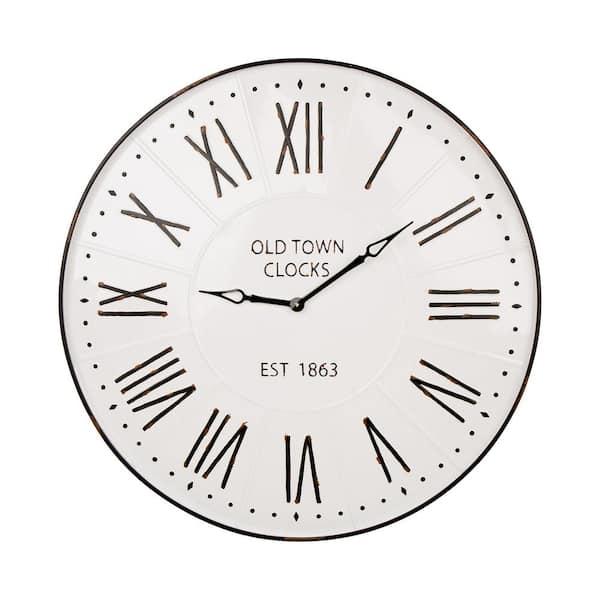 Glitzhome 31 5 In Oversized Farmhouse Metal Enamel Wall Clock 1512202880 The Home Depot