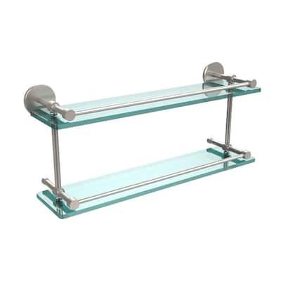 22 in. L  x 8 in. H  x 5 in. W 2-Tier Clear Glass Bathroom Shelf with Gallery Rail in Satin Nickel