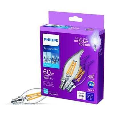 60-Watt Equivalent B11 Dimmable Edison LED Candle Light Bulb Glass Bent Tip Candelabra Base Daylight (5000K) (12-Pack)