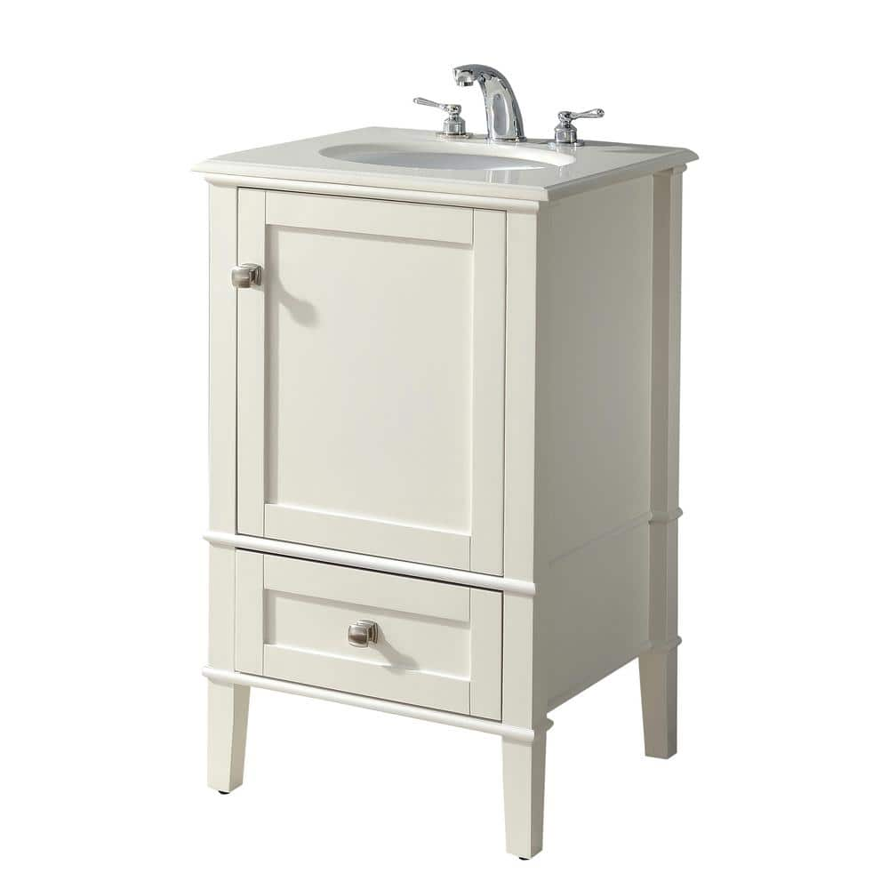 Simpli Home Chelsea 20 In Bath Vanity In Soft White With Quartz Marble Vanity Top In Bombay White With White Basin Hhv029h 20 The Home Depot