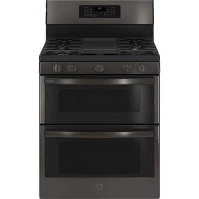 Profile 30 in. 6.8 cu. ft. Double Oven Gas Range with Self-Cleaning Convection Oven in Black Stainless