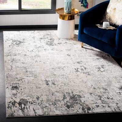 Vogue Beige/Charcoal 9 ft. x 12 ft. Speckled Distressed Area Rug
