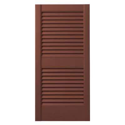 15 in. x 35 in. Open Louvered Polypropylene Shutters Pair in Red
