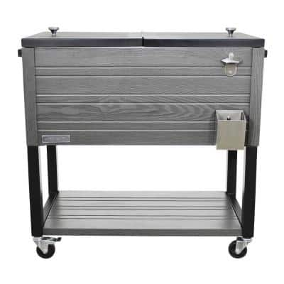 80 qt. Portable Rolling Patio Cooler, Gray