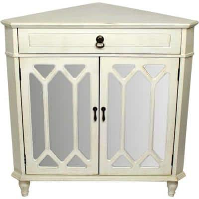 Shelly Assembled Antique White Glass Corner Utility Cabinet with Drawer and 2-Door