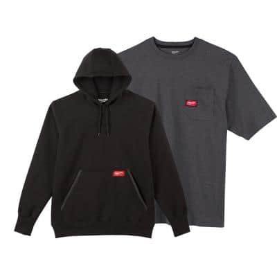 Men's Large Black Heavy-Duty Cotton/Polyester Long-Sleeve Pullover Hoodie and Short-Sleeve Gray Pocket T-Shirt