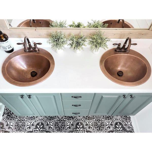Sinkology Bell Drop In Handmade Copper, Bathroom Copper Sinks