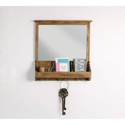 Stallard Rustic Brown Multi-Function Mirror Memo Board