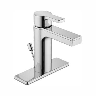 Modern Contemporary Single Hole Single-Handle Low-Arc Bathroom Faucet in Chrome
