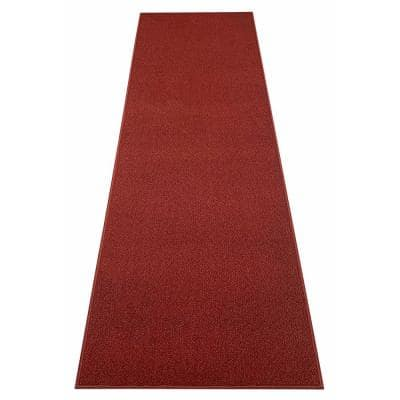 Rubber Collection Solid Red 36 in. Width x Your Choice Length Custom Size Runner Rug