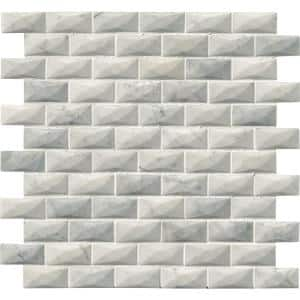 Carrara White 3-D 12 in. x 12 in. x 12mm Polished Marble Mesh-Mounted Mosaic Tile (10 sq. ft. / case)