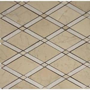 Grand Textured Crema Marfil 11 in. x 12 in. x 10 mm Polished Marble Mosaic Tile