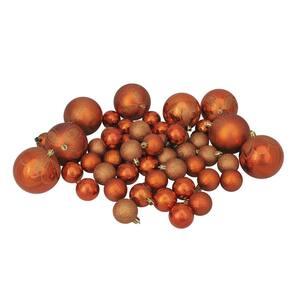 Burnt Orange Shatterproof 4-Finish Christmas Ornaments (125-Count)