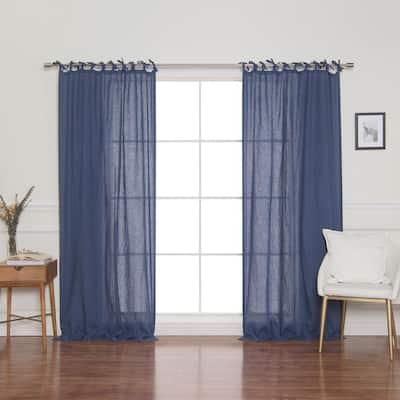 Indigo Blue Linen Tie Top Room Darkening Curtain - 52 in. W x 84 in. L
