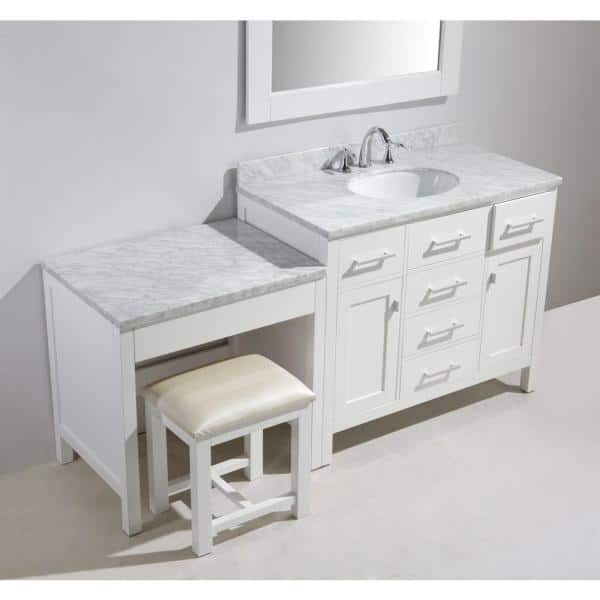 Design Element London 42 In W X 22 In D Vanity In White With Marble Vanity Top In Carrara White Basin Mirror And Makeup Table Dec076f W Mut W The Home Depot