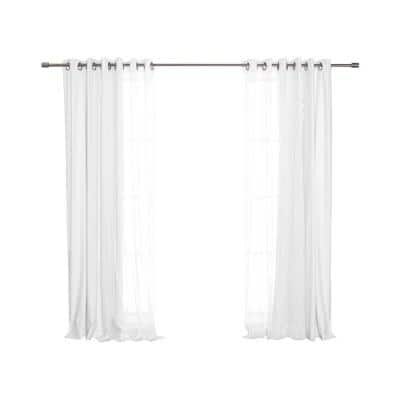 White Sheer and Linen Grommet Blackout Curtain - 52 in. W x 84 in. L (Set of 4)