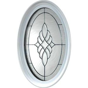 20 in. x 28.75 in. Oval Geometric Vinyl Window in Platinum Design, White