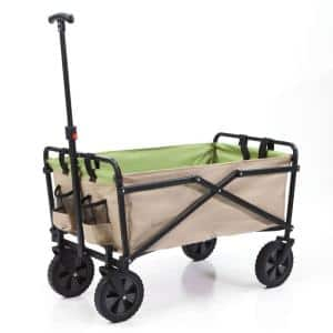 150 lbs. Capacity Manual Folding Steel Wagon Outdoor Garden Cart in Tan