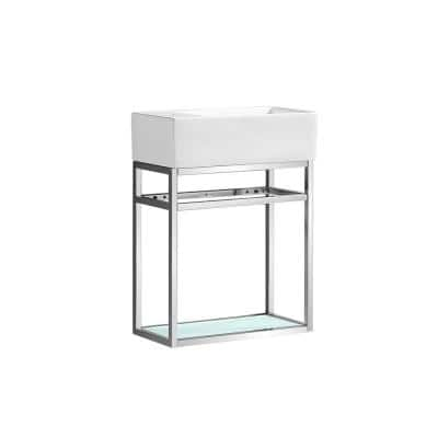Pierre 18.9 in. W x 9.3 in. D Bath Vanity in Chrome with Ceramic Vanity Top in White with White Basin