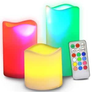 Multi Colors Flameless Candles with Remote, Battery Powered LED Pillars Candle with Remote Control and Timer Function