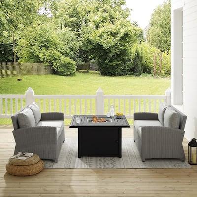 Bradenton Gray 3-Piece Wicker Patio Fire Table Seating Set with Gray Cushions