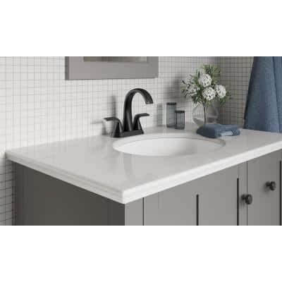 Cursiva 4 in. Centerset 2-Handle Bathroom Faucet in Matte Black