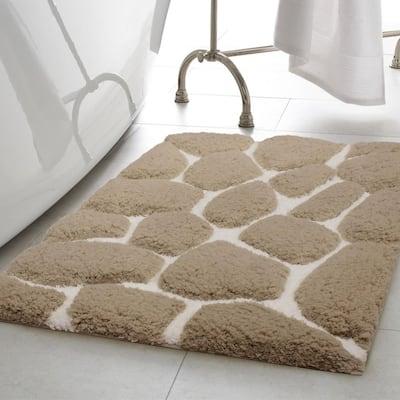 Super Plush Linen/White 17 in. x 24 in. Pebble Microfiber Bath Rug