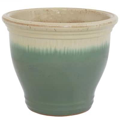 Studio 15 in. Light Green Ceramic Indoor/Outdoor Planter