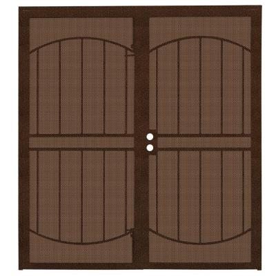 72 in. x 80 in. ArcadaMAX Copper Surface Mount Outswing Steel Security Double Door with Perforated Metal Screen
