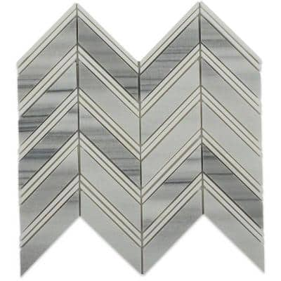Royal Herringbone Cipolino and Thassos Strips 10-1/2 in. x 12 in. x 10 mm Polished Marble Mosaic Tile
