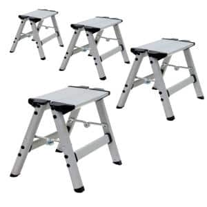 Ultra 1 ft. Light Weight Aluminum Single Step Stool Compact Folding Step Stool Type II 225 lbs. Duty Rating (4-Pack)