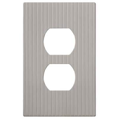 Mies 1 Gang Duplex Metal Wall Plate - Satin Nickel