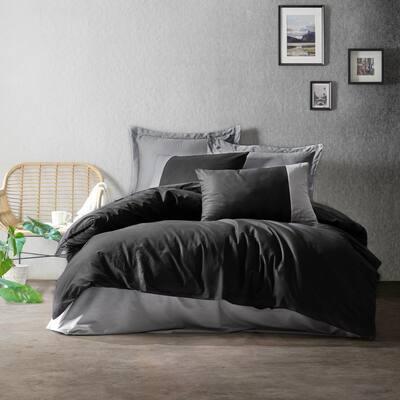 Black Gray Gentleman Duvet Cover Set, Full Size Duvet Cover, 1-Duvet Cover, 1-Fitted Sheet and 2-Pillowcases, Iron Safe