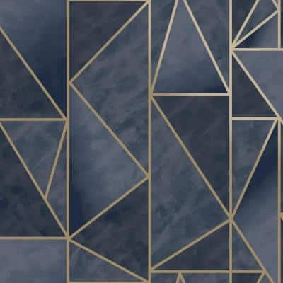 Bohemian Metallic Triangles Navy And Gold Geometric Paper Strippable Wallpaper Roll (Covers 57 Sq. Ft.)