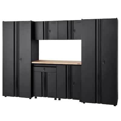 7-Piece Regular Duty Welded Steel Garage Storage System in Black (109 in. W x 75 in. H x 19 in. D)