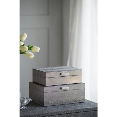 Metal Snake Print Decorative Rectangular Boxes with Metal Handles (Set of 2)