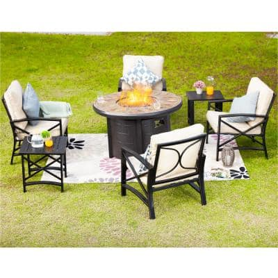 7-Piece Steel Patio Fire Pit Conversation Set with Beige Cushions