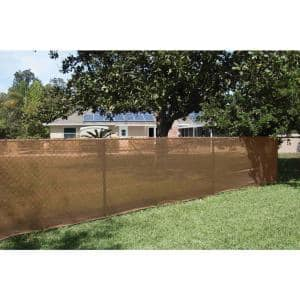 68 in. x 50 ft. Mesh Fabric Privacy Fence Screen with Integrated Button Hole in Tan