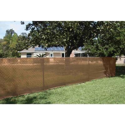92 in. x 50 ft. Mesh Fabric Privacy Fence Screen with Integrated Button Hole in Tan
