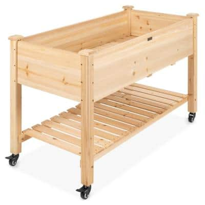 48 in. x 24 in. x 32 in. Wood Raised Garden Bed with Lockable Wheels, Liner