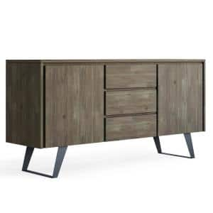 Fulton in Distressed Grey Solid acacia Wood and Metal 60 in. Wide Modern Industrial Sideboard Buffet