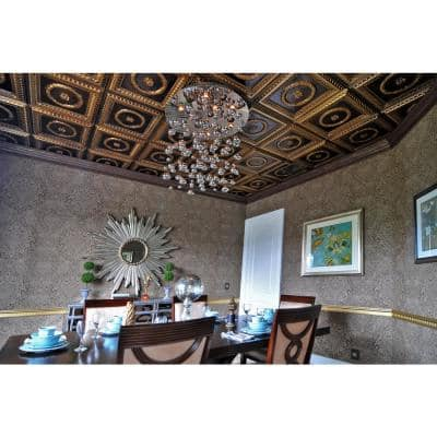 Laurel Wreath Antique Gold 2 ft. x 2 ft. PVC Glue-up or Lay-in Faux Tin Ceiling Tile (100 sq. ft./case)