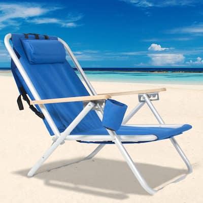 Portable Blue Aluminum Folding Adjustable Headrest Beach Chair