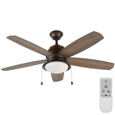 Ackerly 52 in. Integrated LED Bronze Damp Rated Ceiling Fan with Light Kit Works with Google Assistant and Alexa