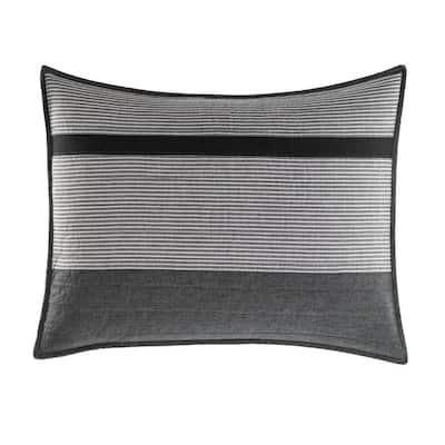 Vessey 1-Piece Gray Striped Cotton Standard Sham