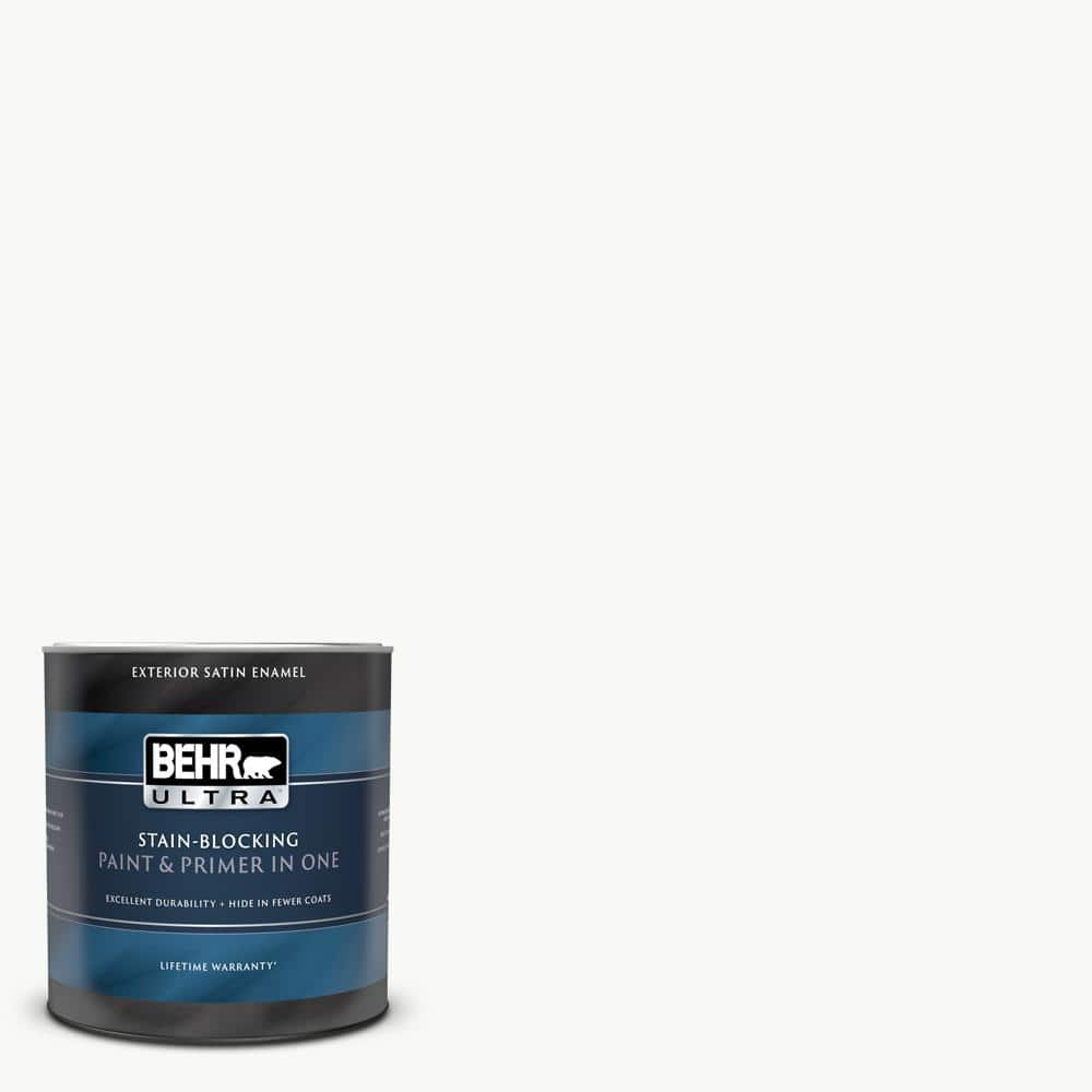Behr Ultra 1 Qt Ultra Pure White Satin Enamel Exterior Paint And Primer In One 985004 The Home Depot