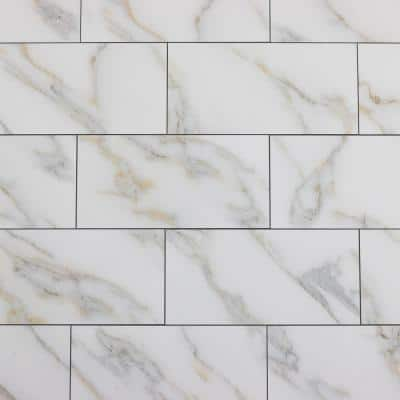 Calacatta Gold & White Subway 4 in. x 8 in. Honed Glass Decorative Wall Tile (2.2 Sq. Ft./Case)