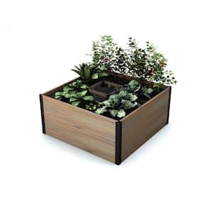 Mezza 48 in. x 48 in. x 22 in. Golden Brown Wood Raised Composting Garden